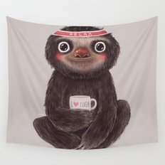 Sloth I♥yoga Wall Tapestry