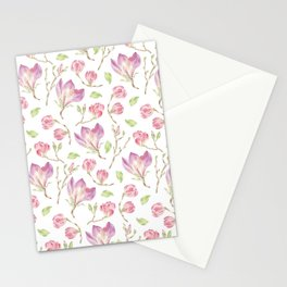 Pink lilac watercolor hand painted magnolia pattern Stationery Cards