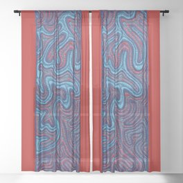 Stitches - Coral Sheer Curtain
