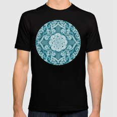 Centered Lace - Teal  MEDIUM Black Mens Fitted Tee