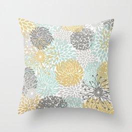 Floral Abstract Print, Yellow, Gray, Aqua Throw Pillow