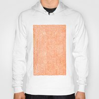orange pattern Hoodies featuring Stockinette Orange by Elisa Sandoval