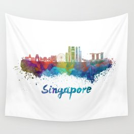 Singapore V2 skyline in watercolor Wall Tapestry