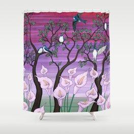 calla lilies & tree swallows Shower Curtain