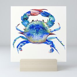Blue Crab, crab restaurant seafood design art Mini Art Print