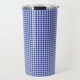 Cobalt Blue and White Houndstooth Check Pattern Travel Mug