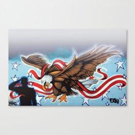 USA Eagle Soldier Salute White Canvas Print