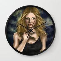 buffy Wall Clocks featuring Buffy Summers by Jade Todd