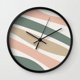 Colorful Stripes, Green, Blush Pink, Beige, Geometric Art Wall Clock