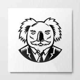 Koala With Moustache Woodcut Black and White Metal Print
