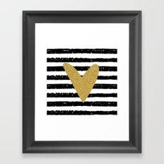 Heart on stripes Framed Art Print