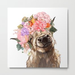 Highland Cow with Flower Crown Metal Print
