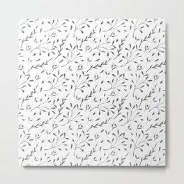 Modern black gray hand painted watercolor floral leaves Metal Print