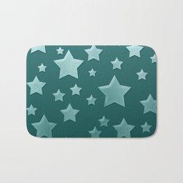 Teal Green Ombre Floating Stars and Herringbone Bath Mat
