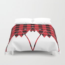 Red Buffalo Plaid Mountains Duvet Cover