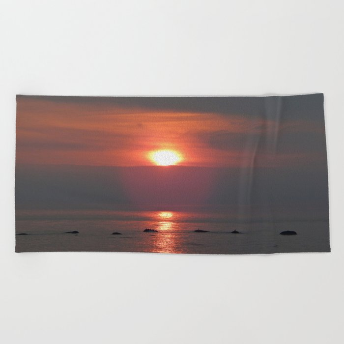 Ste-Anne-Des-Monts Sunset on the Sea Beach Towel