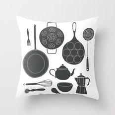 Kitchen Tools (black on white) Throw Pillow