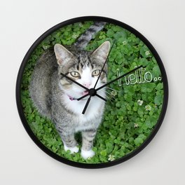 Cat in Clover Saying Hello Wall Clock