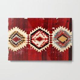 Karapinar  Antique Turkish Konya Kilim Rug Print Metal Print