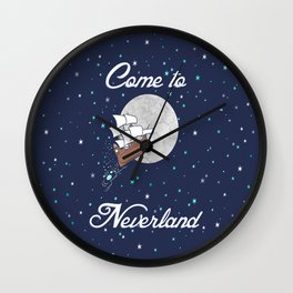 Peter Pan Neverland in Navy Wall Clock