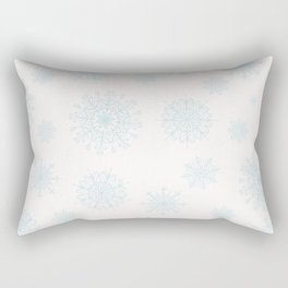 Assorted Light Blue Snowflakes On White Background Rectangular Pillow