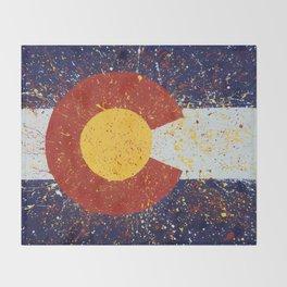 Splatter Colorado Flag Art Throw Blanket