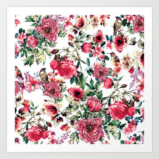 Flowers & Birds III Art Print