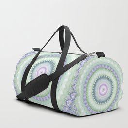 Heirloom Mandala in Pastel Green and Purple Duffle Bag
