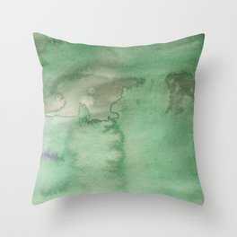 Hand painted forest green brown watercolor camo pattern Throw Pillow