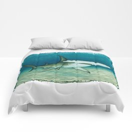 """""""Great Hammerhead Shark"""" by Amber Marine ~ Watercolor Painting, (Copyright 2016) Comforters"""