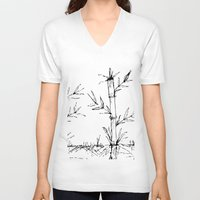 bamboo V-neck T-shirts featuring bamboo by aticnomar