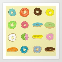 Sixteen Donuts  -Yellow Art Print
