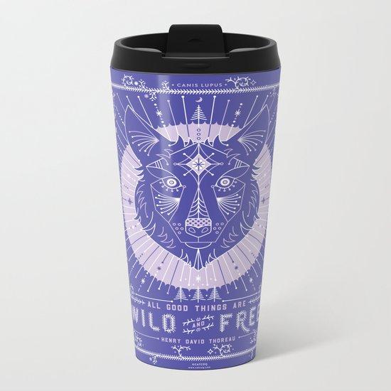 Wild & Free Wolf – Periwinkle Metal Travel Mug