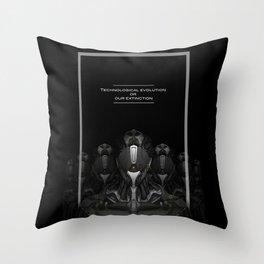 Technological evolution or extinction Throw Pillow
