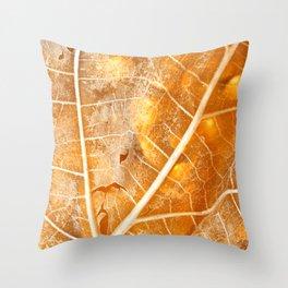 Burning Bokeh Leaf Throw Pillow