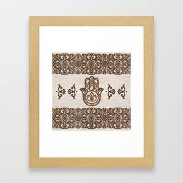Hamsa Hand - Hand of Fatima  wooden texture Framed Art Print