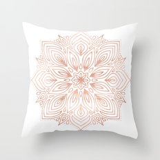 Mandala Rose Gold Flower Throw Pillow