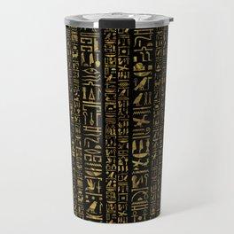 Egyptian hieroglyphs vintage gold on black Travel Mug