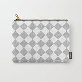 Rustic Farmhouse Checkerboard in Gray and White Carry-All Pouch