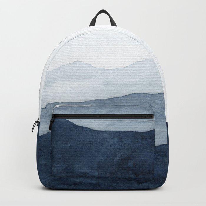 Indigo Abstract Watercolor Mountains Backpack