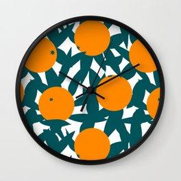 Art Deco Minimalist Orange Grove Wall Clock