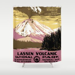Lassen Volcanic National Park Vintage Shower Curtain