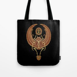 Golden Red Winged Egyptian Scarab Beetle with Ankh Tote Bag