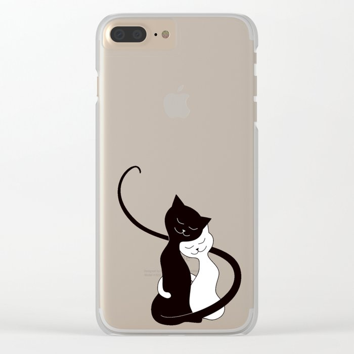 White And Black Cats In Love Clear iPhone Case