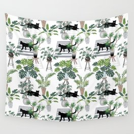 cats in the interior pattern Wall Tapestry
