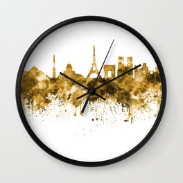 Paris skyline in orange watercolor on white background Wall Clock