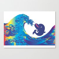 hokusai Canvas Prints featuring Hokusai Rainbow & Babydolphin by FACTORIE