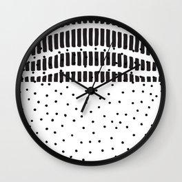 Modern black white  watercolor brushstrokes polka dots Wall Clock
