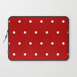 Red and White Polka Dots Pattern Laptop Sleeve