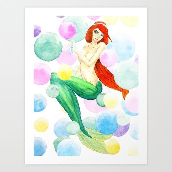 mermaid with colorful bubbles Art Print